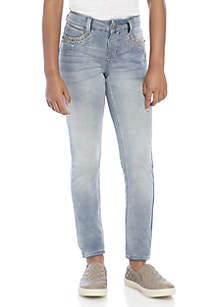 Girls 7-16 Embellished Pocket Light Wash Skinny Jeans
