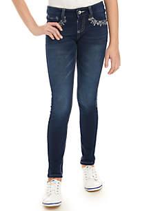 Girls 7-16 Knit Denim Jeweled Front Pocket Skinny Jeggings