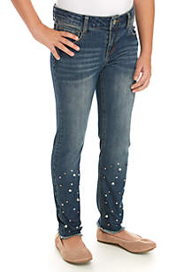Girls 7-16 Pearl Embellished Fray Ankle Jeans