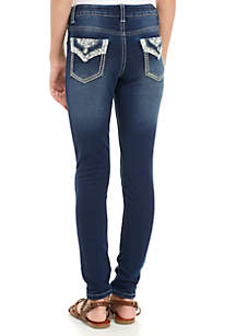 Girls 7-16 Bling Flap Pocket Medium Wash Jean