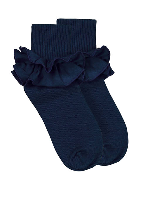 Crown & Ivy™ Ruffle Turn Cuff Sock Girls