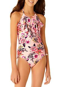 Angel Beach Girls 7-16 Floral Ruffle One Piece Swimsuit
