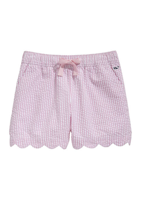 Girls 7-16 Seersucker Scallop Shorts