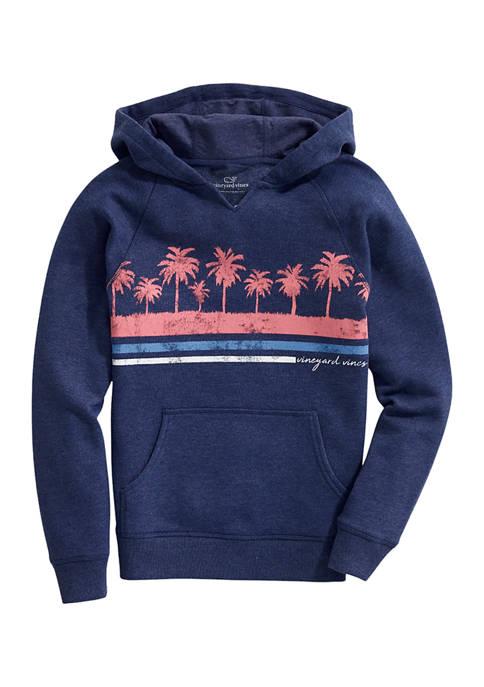 Girls 7-16 Palm Stripe Graphic Hoodie