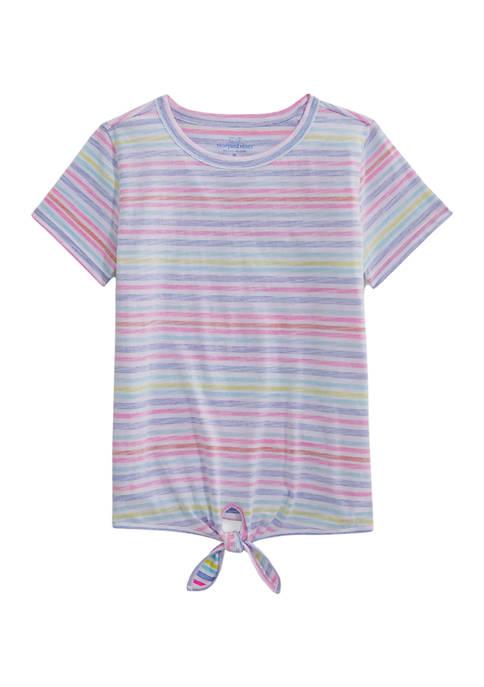 Girls 7-16 Beachy Stripe Printed Tie T-Shirt