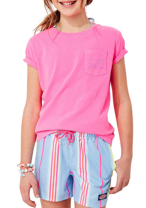 Girls 7-16 Garment Dyed Vintage Whale Short-Sleeve Pocket T-Shirt