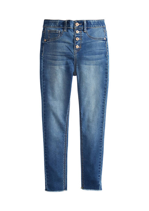 Girls 7-16 4 Button High Rise Jeggings