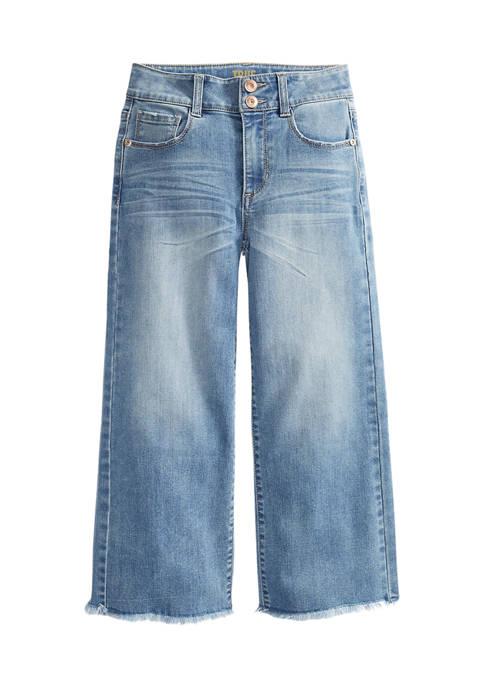 Girls 7-16 Fray Hem Wide Leg Jeans