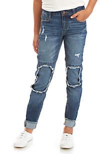 TRUE CRAFT Girls 7-16 Frayed Cuff Blowout Knees Skinny Jeans