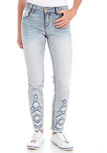 Girls 7-16 Ankle Skinny Chevron Crochet Jeans