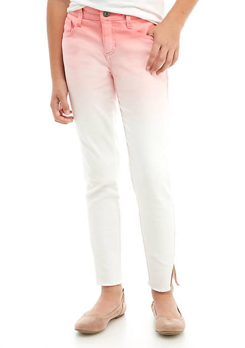 Girls 7-16 Pink and White Ombre Skinny Ankle Pants