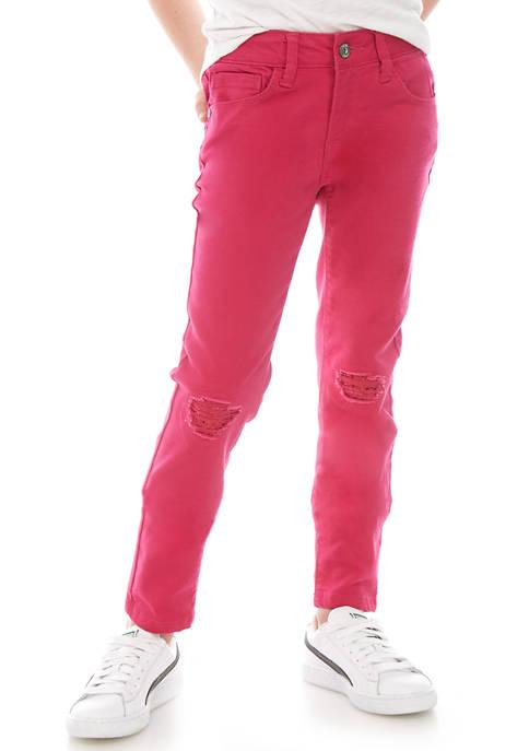 Girls 7-16 Fuschia Skinny Jeans with Sequin Knee
