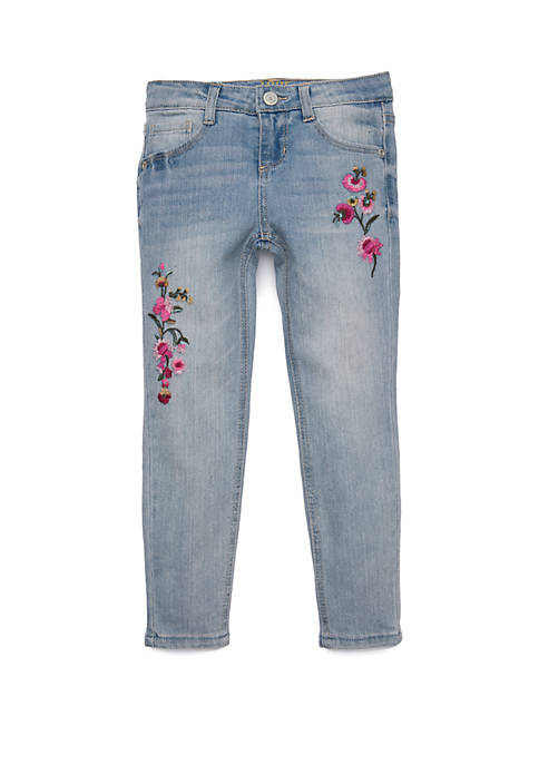 Girls 4-6x Floral Embroidered Skinny Jeans