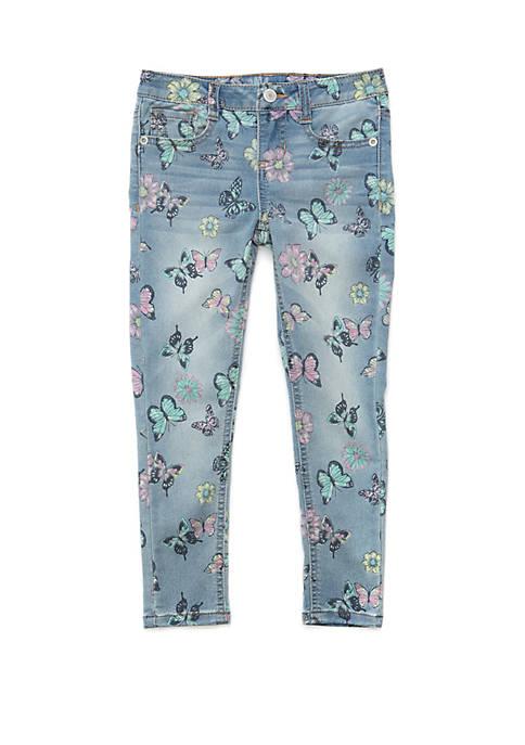 Girls 4-6x Butterfly Print Denim Jeans