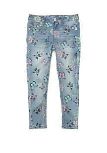 TRUE CRAFT Girls 4-6x Butterfly Print Denim Jeans