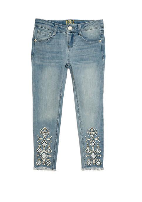 Girls 4-6x Bottom Embroidered Denim Jeans