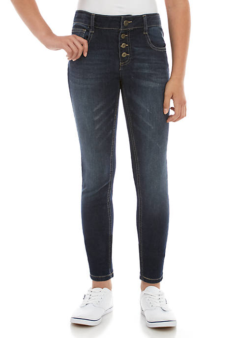 Girls 7-16 Air 4 Button Exposed Fly Brynne Dark Wash Jeggings