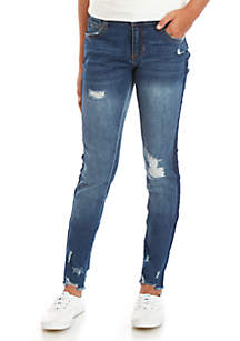 TRUE CRAFT Girls 7-16 Destructed Side Taping Skinny Jeans