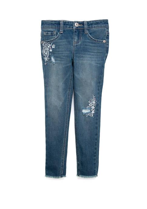 TRUE CRAFT Girls 4-6x Embroidered Sequin Denim Jeans