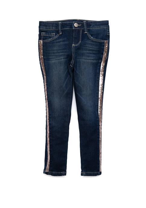 Girls 4-6x Sequin Side Stripe Denim Jeans