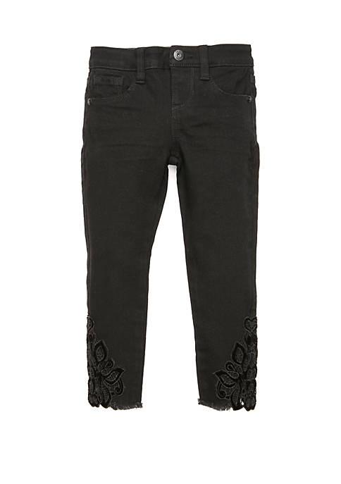 Girls 7-16 Velvet Applique Hem Skinny Jeans