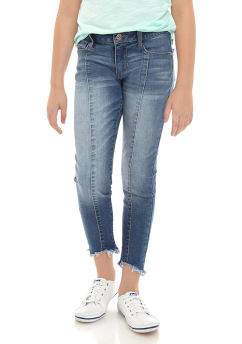 Girls 7-16 Ankle Skinny Jeans with Front Seam Fray Hem