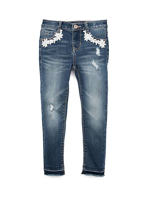 Girls 7-16 Release Hem Denim Jeans with Daisy Pockets