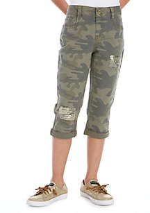 Girls 7-16 Camo Sequin Destructed Crop Pants