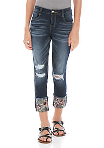 TRUE CRAFT Girls 7-16 Roll Cuff Embroidered Denim Jeans