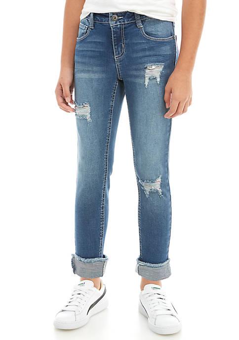 Girls 7-16 Unicorn Cross Dye Cuffed Skinny Jeans