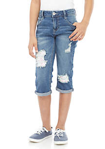 TRUE CRAFT Girls 7-16 Crop Double Rolled Cuff Capris