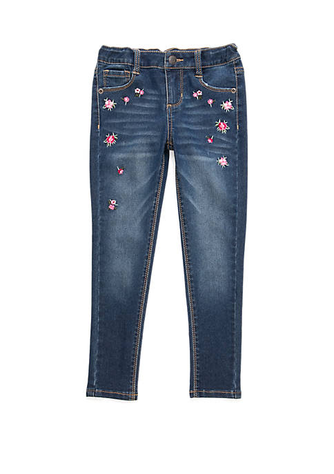 Girls 4-6x Scattered Embroidered Denim Jeans
