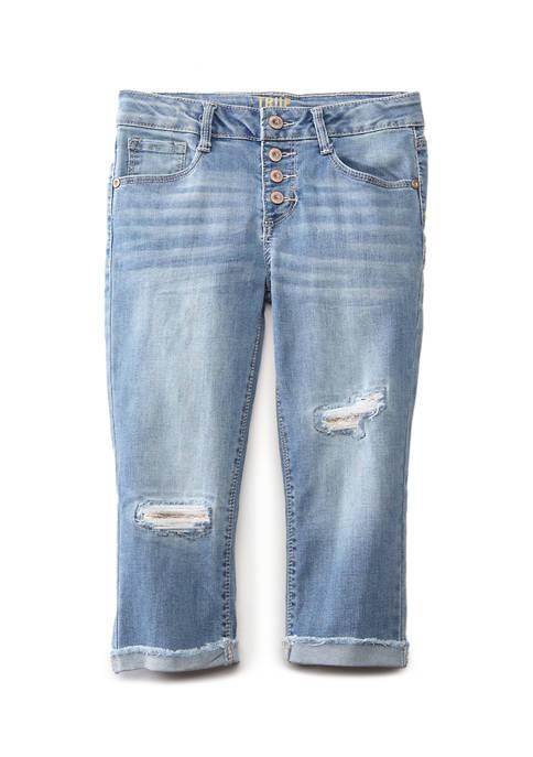 Girls 7-16 White Wash 4 Button Capri Pants