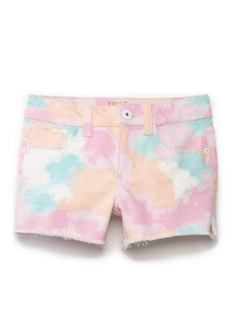 Girls 4-7 Tiedye Cloud Print Shorts