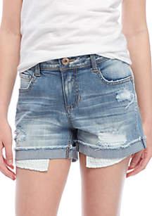 Cuffed Denim Pocket Bag Jean Shorts Girls 7-16