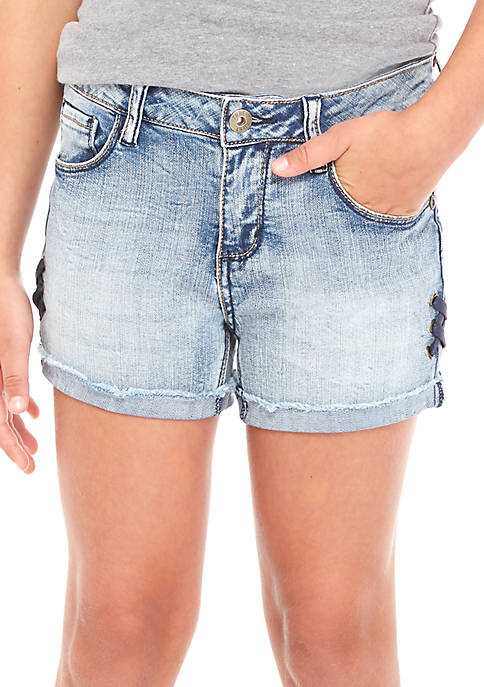 TRUE CRAFT Girls 7-16 Side Lace-Up Shortie Shorts