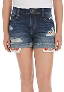 Girls 7-16 Destructed Denim Shorts