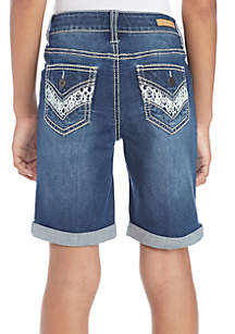 Girls 7-16 Crochet Trim Cuffed Bermuda Shorts