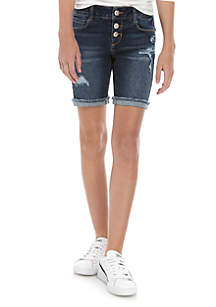 TRUE CRAFT Girls 7-16 Sadie 3 Button Exposed Destructed Bermuda Shorts