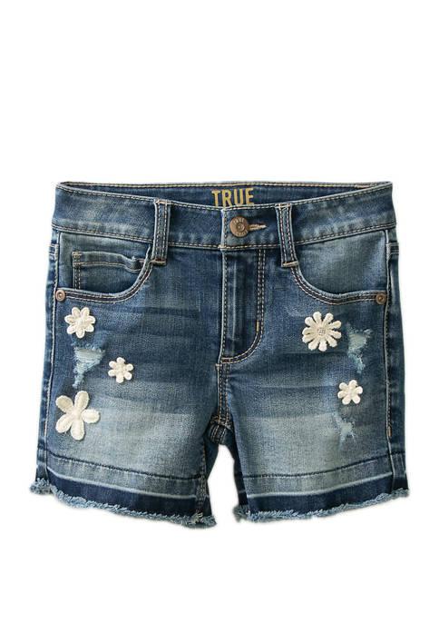 Girls 4-6x Released Hem Midi Denim Shorts
