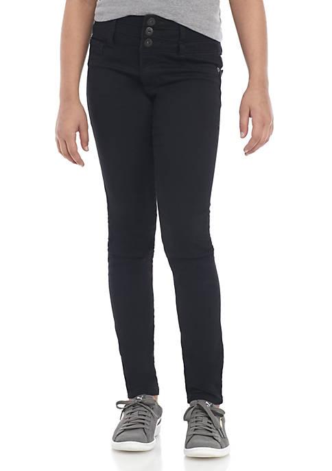 TRUE CRAFT Girls 7-16 Button Black Skinny Jeans