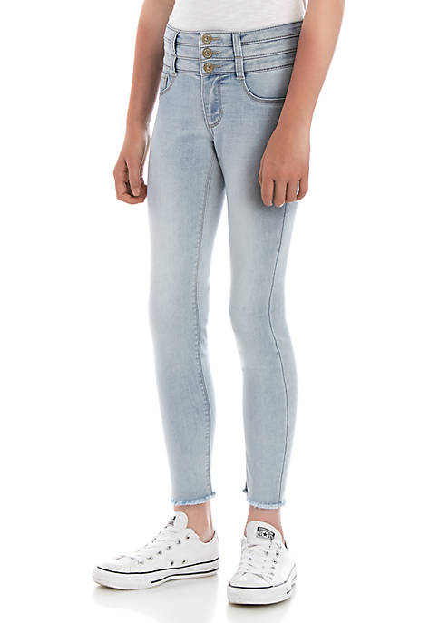 Girls 7-16 Air 3 Button Stacked Waist Naomi Light Wash Jeggings