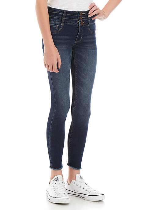 Girls 7-16 Air 3 Button Stacked Waist Bami Dark Wash Jeggings