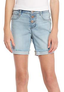Girls 7-16  Exposed Three-Button Cuff Light Midi Shorts