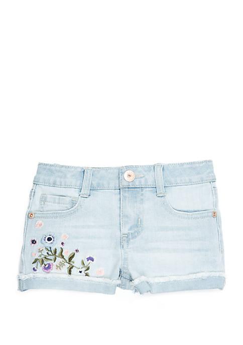 TRUE CRAFT Girls 4-8 Floral Embroidered Denim Shorts