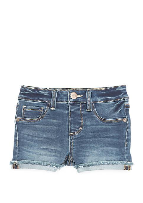 Girls 4-8 Rolled Fray Hem Denim Shorts