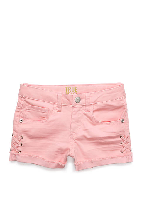 Girls 4-8 Side Cross Pink Denim Shorts