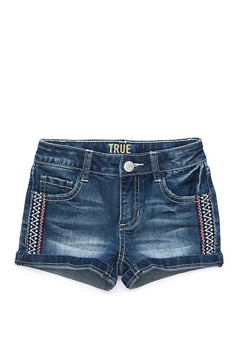 Toddler Girls Embroidered Side Stripe Denim Shorts