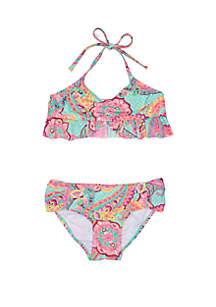 41369e0f7f8f7 ... Malibu Dream Girl Girls 7-16 Paisley Foil Ruffle Bikini Swimsuit