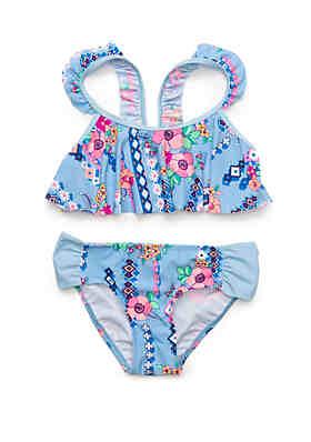 ce28a31ed46 Crown & Ivy™ Girls 7-16 Gypsy Flower Flounce Swim Bikini ...